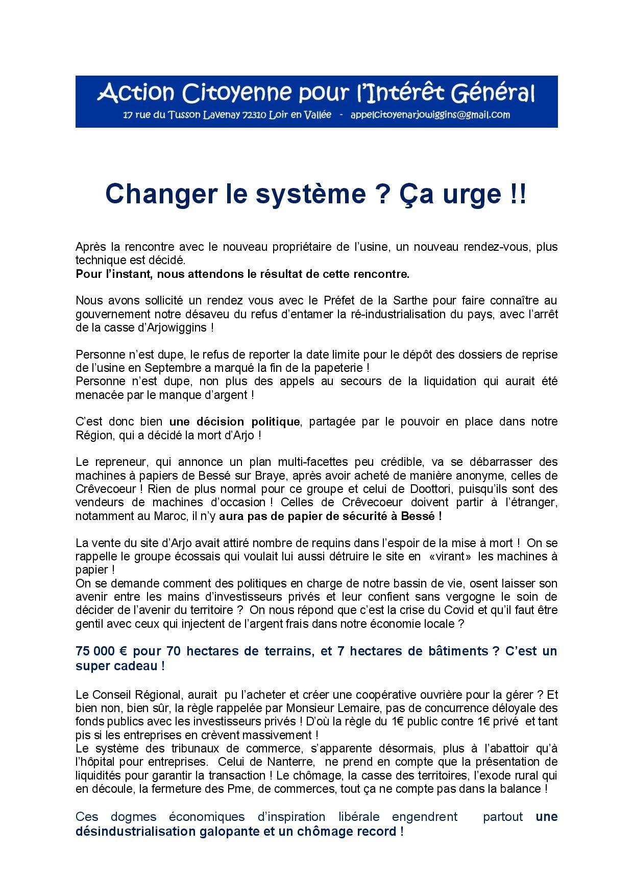 Changer le systeme ca urge 050720-1