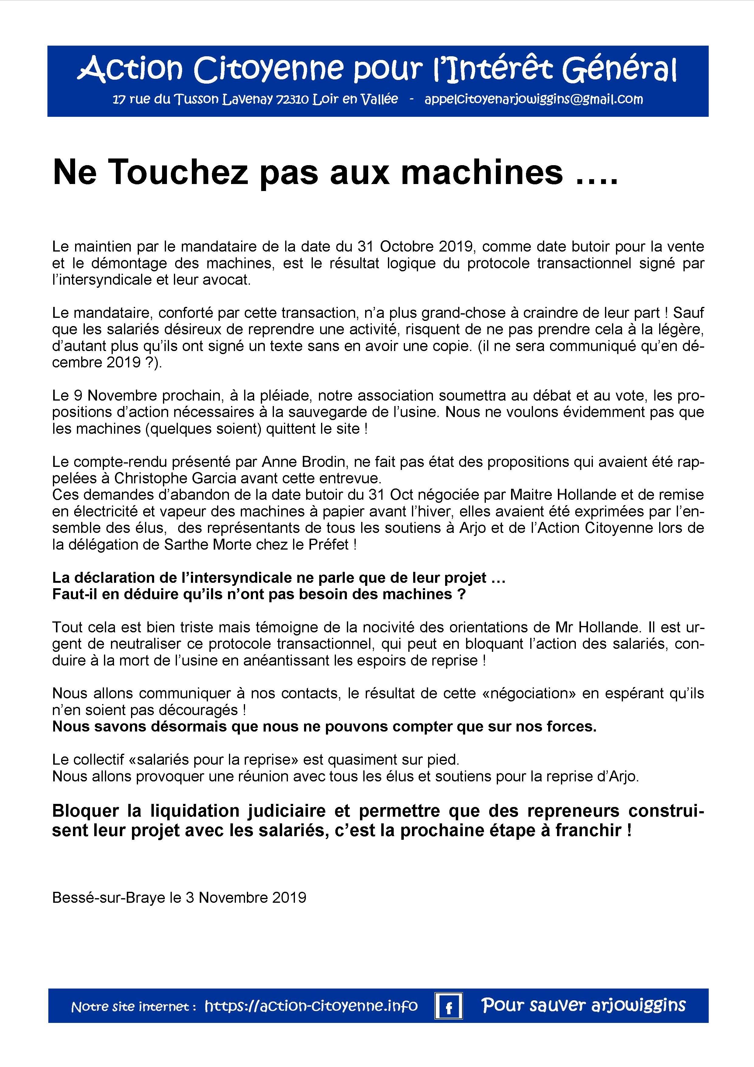 Ne touchez pas aux machines 041119