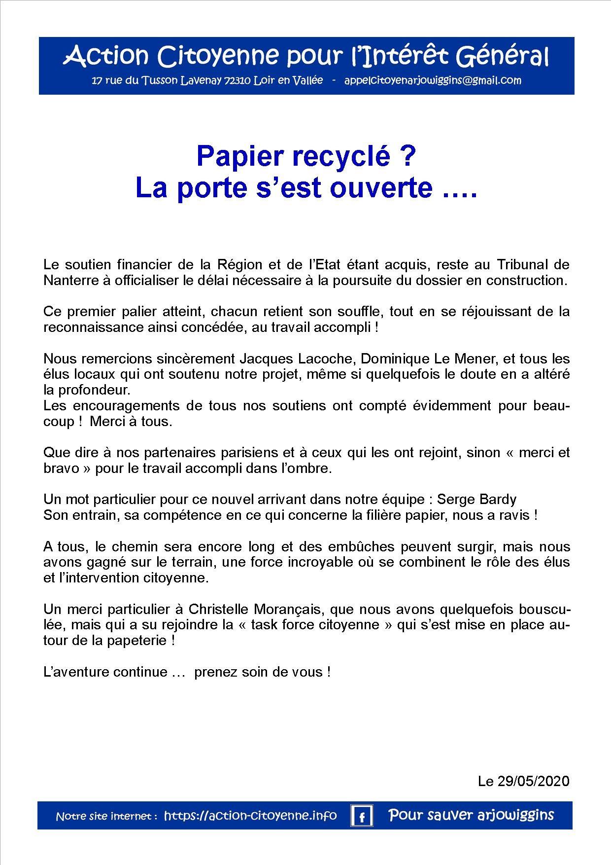 Papier recycle la porte s est ouverte 290520